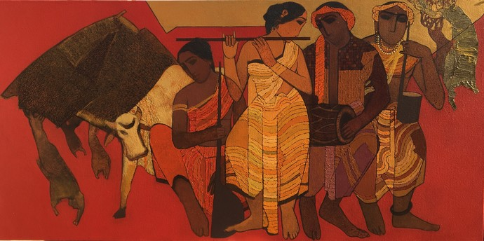 Sangeet by Siddharth Shingade, Expressionism Painting, Acrylic on Canvas, Brown color