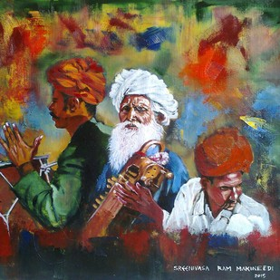 Rajasthani Musicians by Sreenivasa Ram Makineedi, Expressionism Painting, Oil on Canvas, Brown color