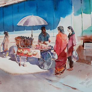 '' Street Vendor '' by GN Madhu, Impressionism Painting, Watercolor on Paper, Brown color