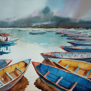 ''Lake Series'' by GN Madhu, Impressionism Painting, Watercolor on Paper, Green color