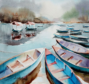 ''Lake Series'' by GN Madhu, Impressionism Painting, Watercolor on Paper, Gray color