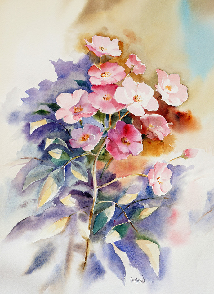 '' Blossom '' by GN Madhu, Decorative Painting, Watercolor on Paper, Gray color