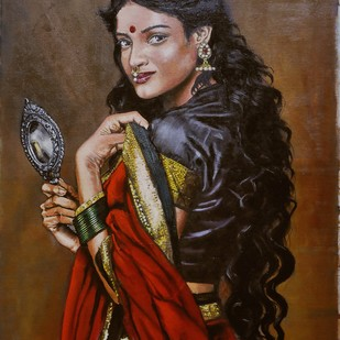 Lady with a mirror by Sreenivasa Ram Makineedi, Expressionism Painting, Oil on Canvas, Brown color