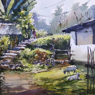 Rural Life by Sunil Linus De, Impressionism Painting, Watercolor on Paper, Brown color