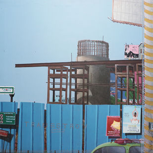 Outer Ring Road by Maredu Ramu, Expressionism Painting, Acrylic on Canvas, Cyan color