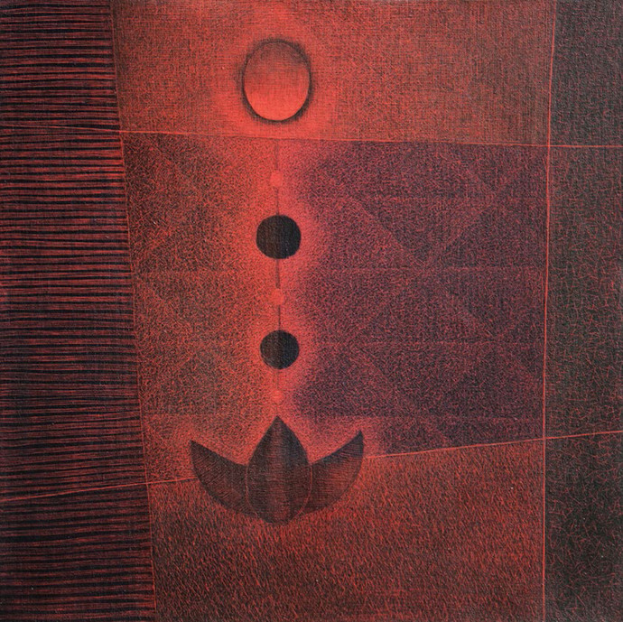 Upasana by Hanumantha Rao Devulapalli, Geometrical Painting, Mixed Media on Canvas, Brown color
