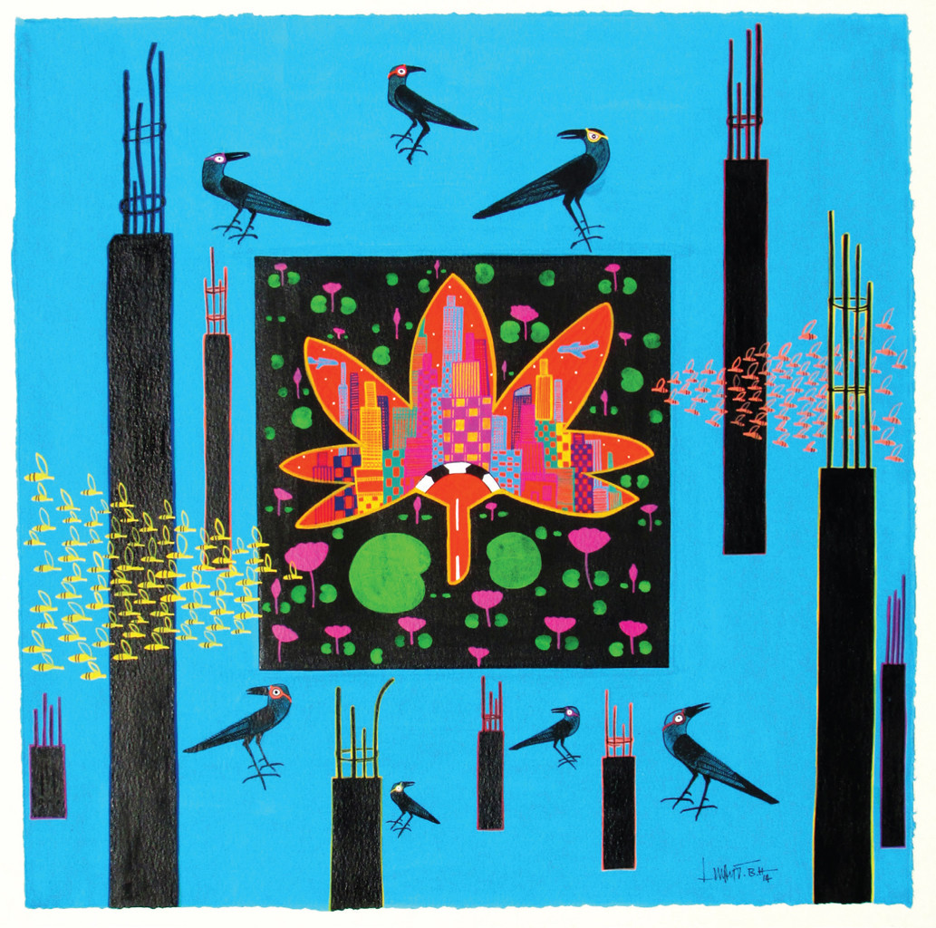 Lotus Pond in the City by LOKESH B H, Expressionism Painting, Tempera on Paper, Cyan color