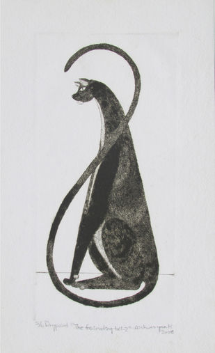 The Fascinating Tail by AISHWARYAN K, Illustration Printmaking, Drypoint on Paper, Gray color