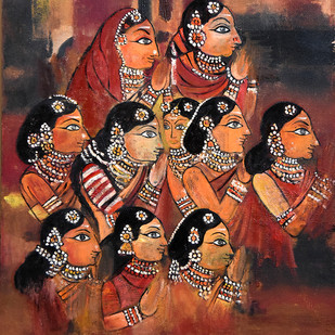 Worship by Gita Hudson, Traditional Painting, Oil on Canvas, Brown color