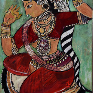 Dancer by Gita Hudson, Traditional Painting, Oil on Canvas, Brown color