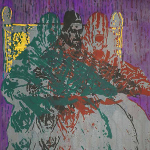 Apocalypse 2 by Durgaprasad Bandi, Expressionism Painting, Mixed Media on Paper, Green color