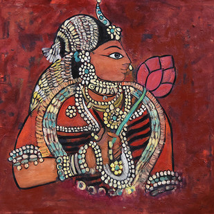 Lady with lotus by Gita Hudson, Traditional Painting, Oil on Canvas, Brown color