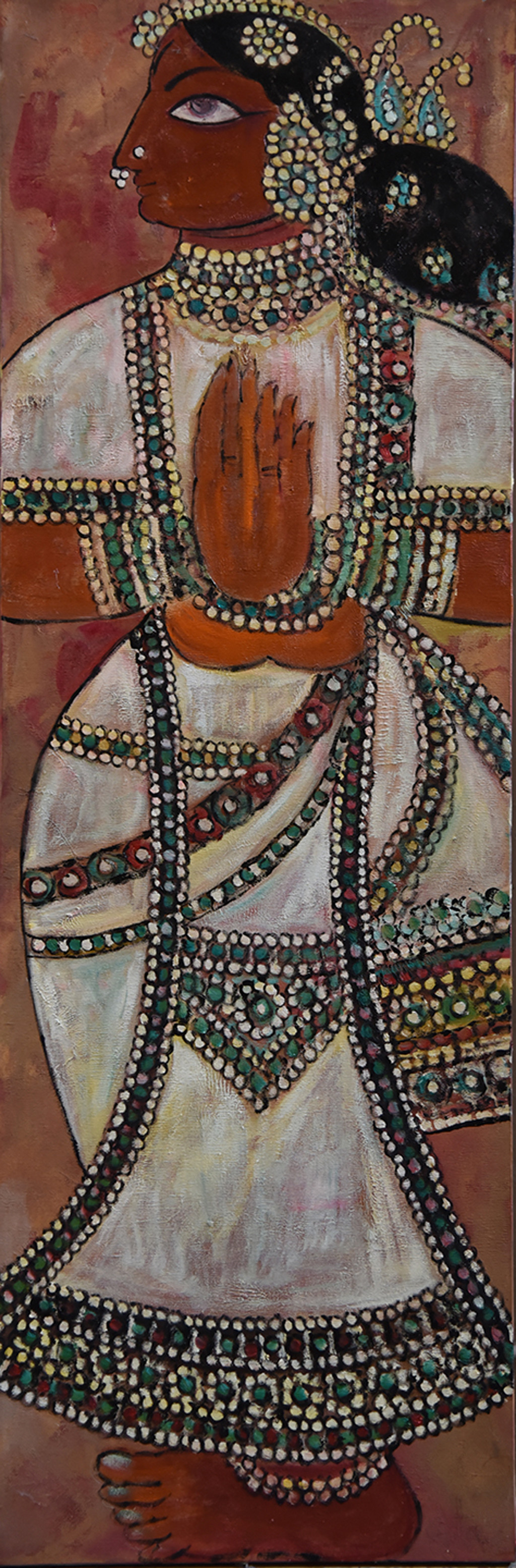 Rani by Gita Hudson, Traditional Painting, Oil on Canvas, Brown color