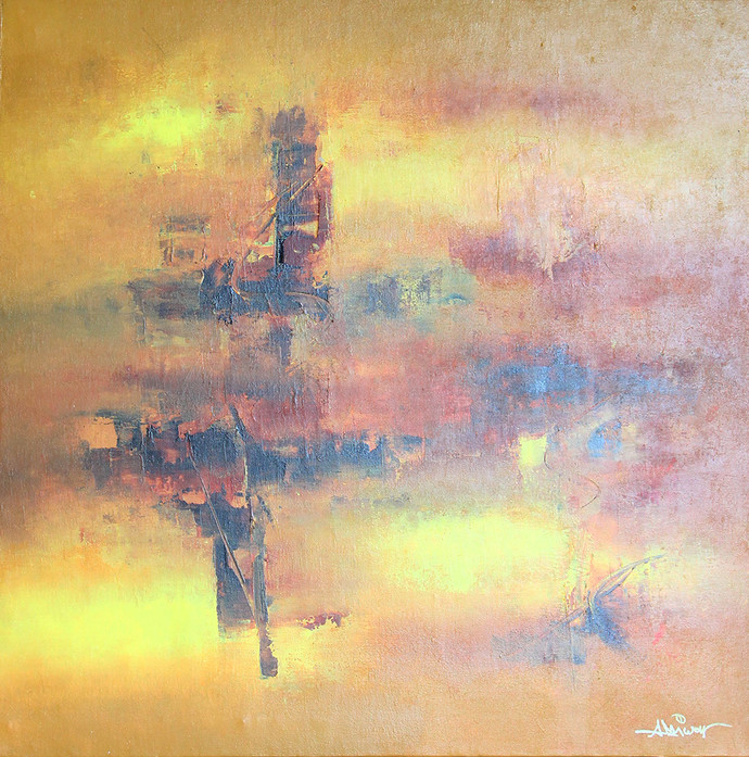 Golden by Raju Durshettiwar, Abstract Painting, Acrylic on Canvas, Beige color