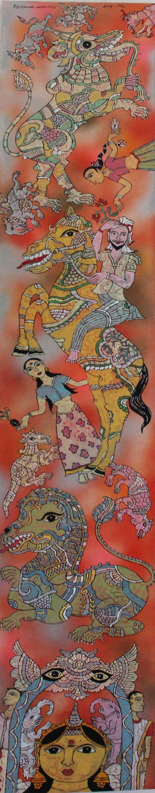 Untitled by K G Narendrababu, Traditional Painting, Mixed Media on Canvas, Brown color
