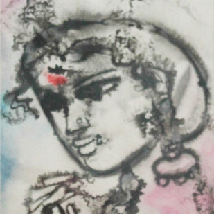 Untitled by N S Manohar, Expressionism Painting, Mixed Media on Paper, Gray color