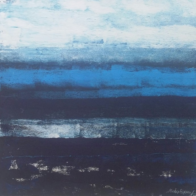 Untitled by Maredu Ramu, Abstract Painting, Acrylic on Canvas, Blue color