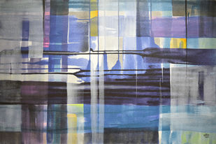 Escape Urbano by Shirish Deshpande, Geometrical Painting, Acrylic on Canvas, Gray color
