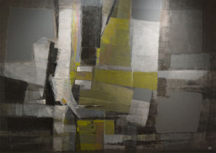 Grey Matter by Shirish Deshpande, Geometrical Painting, Acrylic on Canvas, Gray color