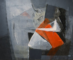 Grey Matter 4 by Shirish Deshpande, Abstract Painting, Acrylic on Canvas, Gray color