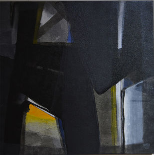 Grey Matter 5 by Shirish Deshpande, Abstract Painting, Acrylic on Canvas, Gray color