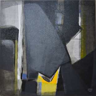 Grey Matter 6 by Shirish Deshpande, Abstract Painting, Acrylic on Canvas, Gray color