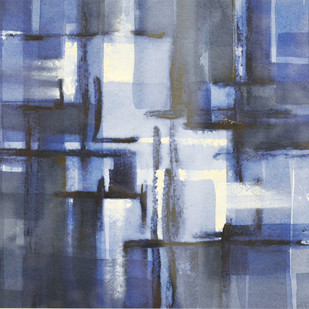 Harmony in Blue by Shirish Deshpande, Geometrical Painting, Acrylic on Paper, Blue color