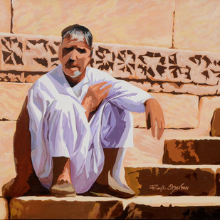 Who am i by raj kumar sharma, Expressionism Painting, Acrylic on Canvas, Brown color