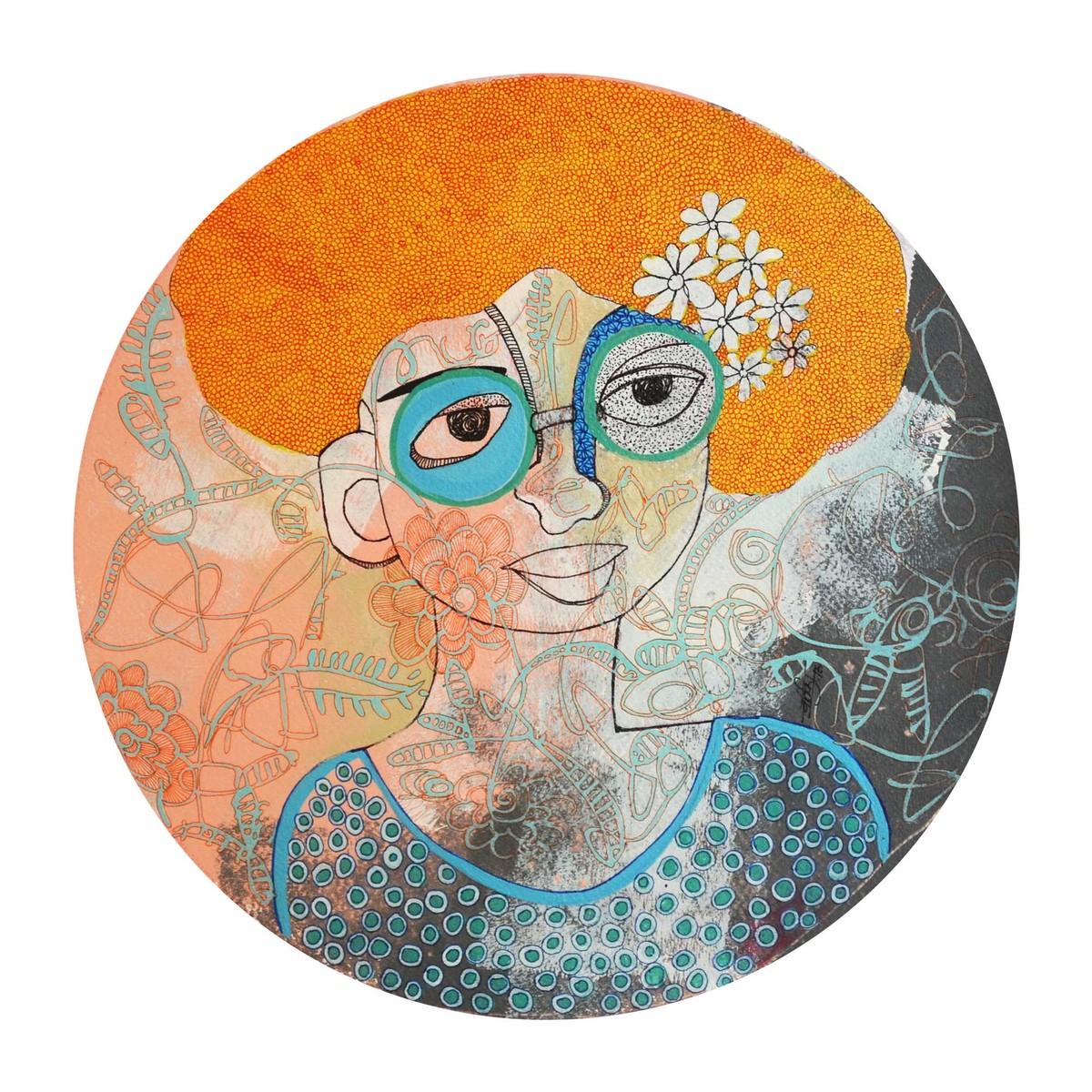 feshonishta by Vartika Singh, Expressionism Painting, Mixed Media on Paper, White color