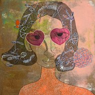 feshonishta VI by Vartika Singh, Expressionism Painting, Mixed Media on Canvas, Brown color