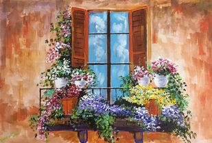 Flowers by the window by Bhaswati Boruah , Expressionism Painting, Acrylic on Canvas, Brown color