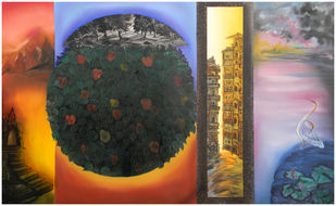 New Formation of Vision-2 by Gunjan Saxena, Expressionism Painting, Oil on Canvas, Brown color