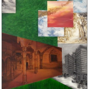 New Formation of Vision-5 by Gunjan Saxena, Expressionism Painting, Oil on Canvas, Green color