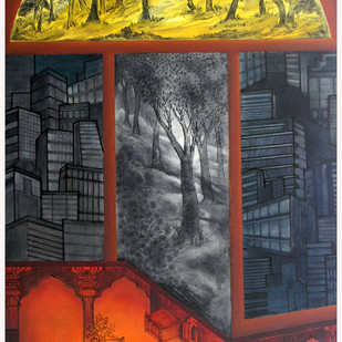 New Formation of Vision-3 by Gunjan Saxena, Impressionism Painting, Oil on Canvas, Brown color