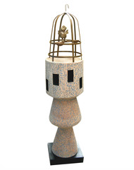 Achin pakhi by Sukanta Chowdhury, Art Deco Sculpture | 3D, Wood & Brass, White color