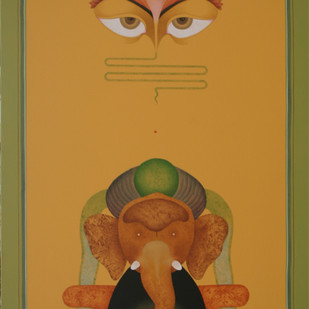 Untitled by Amrut Patel, Expressionism Painting, Acrylic on Canvas, Brown color