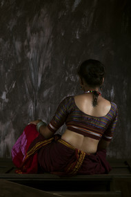 woman in traditional saree by Sachin Upadhye, Expressionism Photography, Print on Canvas, Gray color