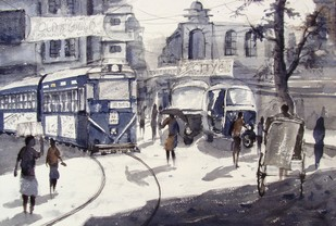 Morning Light in City by Anirban Seth, Impressionism Painting, Watercolor on Paper, Gray color