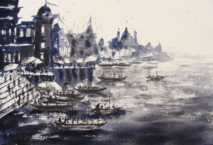 """""""Morning Light in Banaras Ghats"""" by Anirban Seth, Impressionism Painting, Watercolor on Paper, Gray color"""