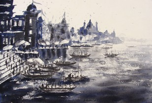 """Morning Light in Banaras Ghats"" by Anirban Seth, Impressionism Painting, Watercolor on Paper, Gray color"