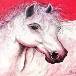 """HORSE"" by Anirban Seth, Expressionism Painting, Acrylic on Canvas, Pink color"