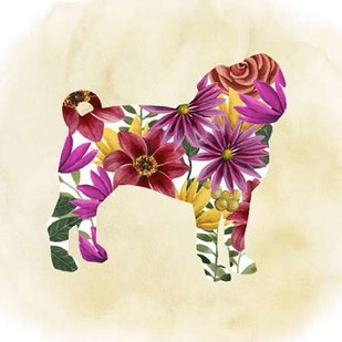 Flower Power Pup III Digital Print by Popp, Grace,Art Deco
