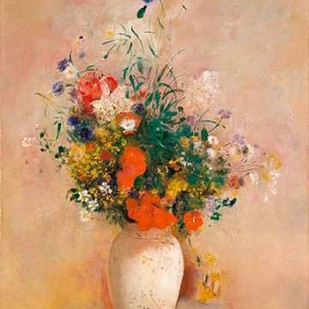 Vase of Flowers (Pink Background) Digital Print by Redon, Odilon,Art Deco