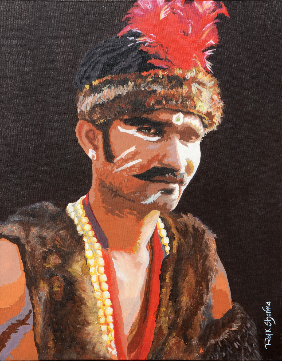Tribal by raj kumar sharma, Expressionism Painting, Acrylic on Canvas, Brown color