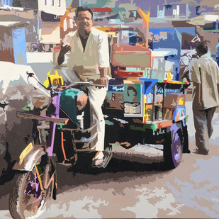 Rikshaw by raj kumar sharma, Expressionism Painting, Acrylic on Canvas, Brown color