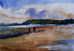 Kashid Beach by prasanta maiti, Impressionism Painting, Watercolor on Paper, Brown color