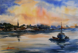 boat by prasanta maiti, Impressionism Painting, Watercolor on Paper, Brown color