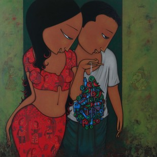 COUPLE Digital Print by Hitendra Singh Bhati,Expressionism