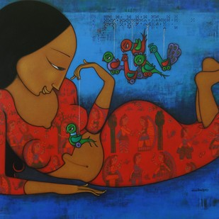 LOVE STORY OF A BIRD by Hitendra Singh Bhati, Expressionism Painting, Acrylic on Canvas, Blue color