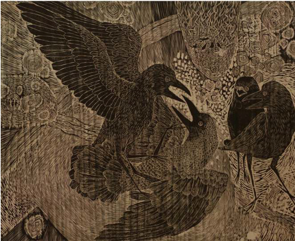 Perception by Vijay Pichumani, Expressionism Printmaking, Wood, Brown color
